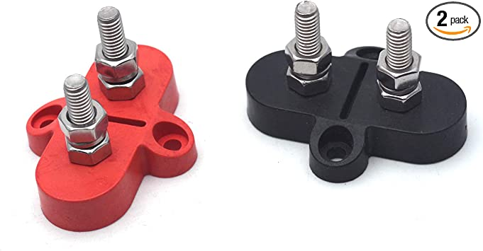 Antrader 1//4 Stainless Steel Single Stud Battery Power and Ground Insulated Junction Post Block Red /& Black Set