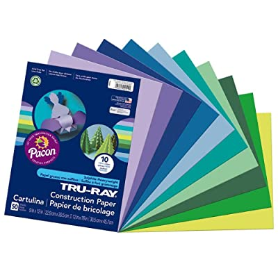 "Tru-Ray Heavyweight Construction Paper, Cool Assorted Colors, 9"" x 12"", 50 Sheets ( New Version)"