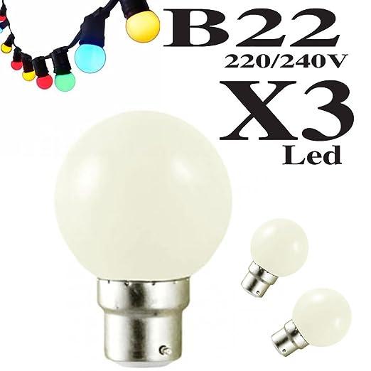 Lote de 3 bombillas LED B22 1 W guirnalda blanco cálido irrompible (equivalentes a 15