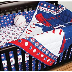 MLB Texas Rangers Baseball 4 Piece Crib Bedding Set