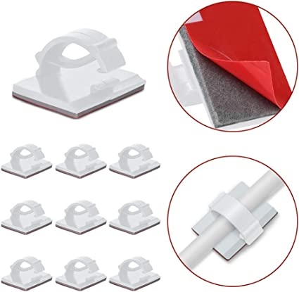 "Small 0.3/"" 25x Adhesive Cable Management Clips Fixed Clamp w// Screw Mount Hole"