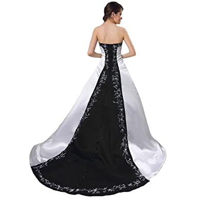 CuteShe Women\' Satin A-line Embroidery Wedding Dresses Bridal Gowns ...