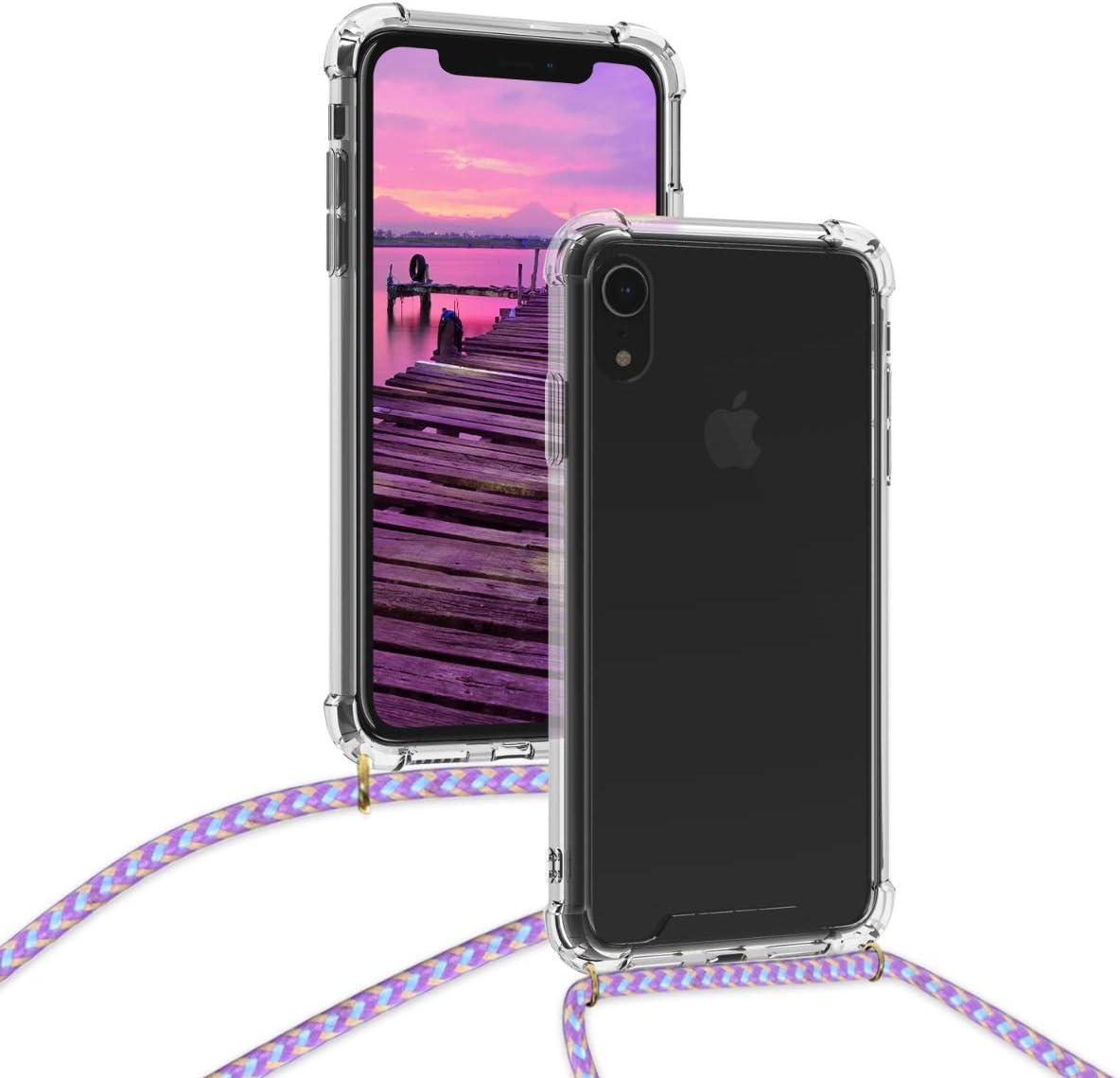 kwmobile Coque Compatible avec Apple iPhone XR /Étui de Protection en Silicone avec Collier pour T/él/éphone Portable Transparent-Vert fonc/é