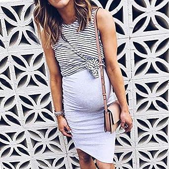 Women Pregnant Maternity Dress Nursing Stripe Dress Breastfeeding Summer Mini Dress Maternity Dresses 2PCS Set