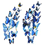 Mudder 24 Pieces 3D Butterfly Stickers Wall Stickers for Home Decoration, Blue Picture