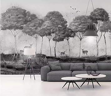 Foto Mural 3D Nostálgico Bosque Blanco Y Negro Alces Animal Placa Fondo Papel Pintado De La