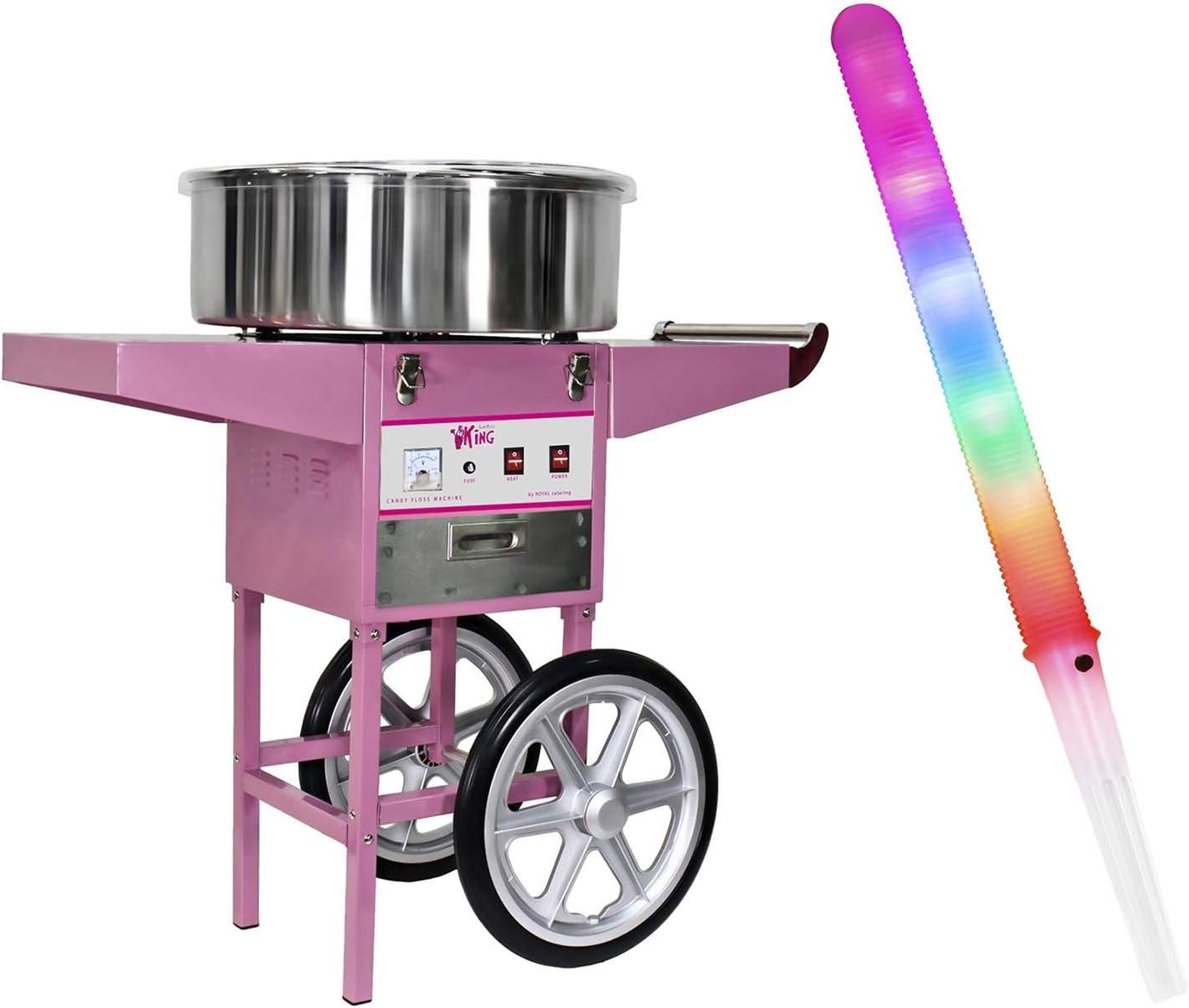 Royal Catering Algodonera Set De Máquina De Algodón De Azúcar RCZC-1200-W SET1 (Diámetro 52 cm, 1.200 Watt, Carrito y 100 Palillos LED): Amazon.es: Hogar