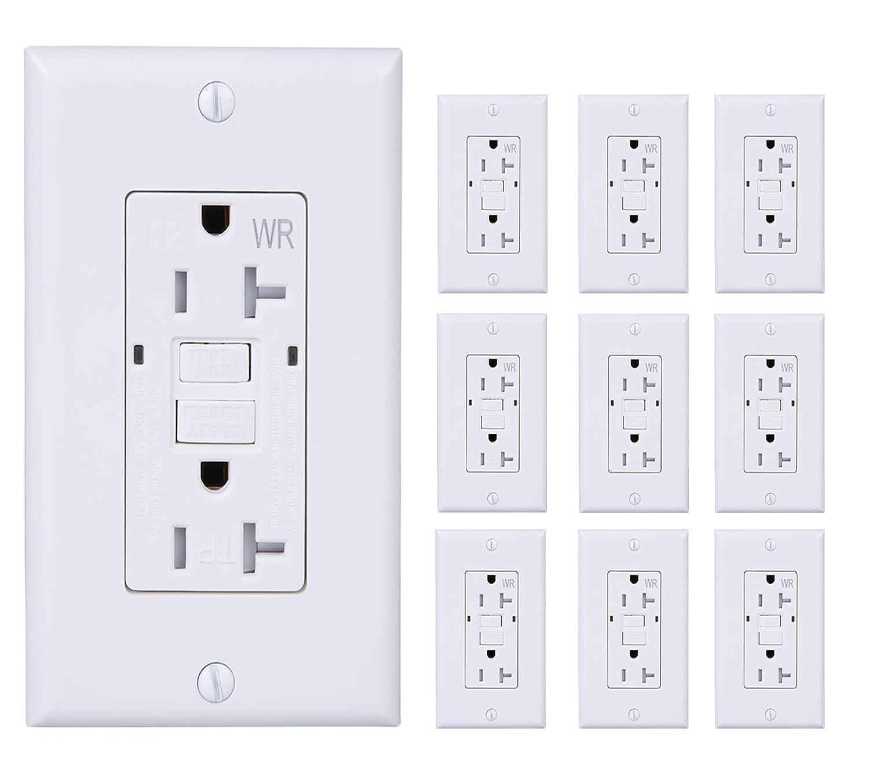 [10 Pack] LGL 20Amp 125V GFCI Duplex Self-Test Receptacle Outlet, Tamper Resistant, Weather Resistant, UL listed, 2 LED Indicator Lights, End-of-Life Alarm, Indoor and Outdoor Outlets, White