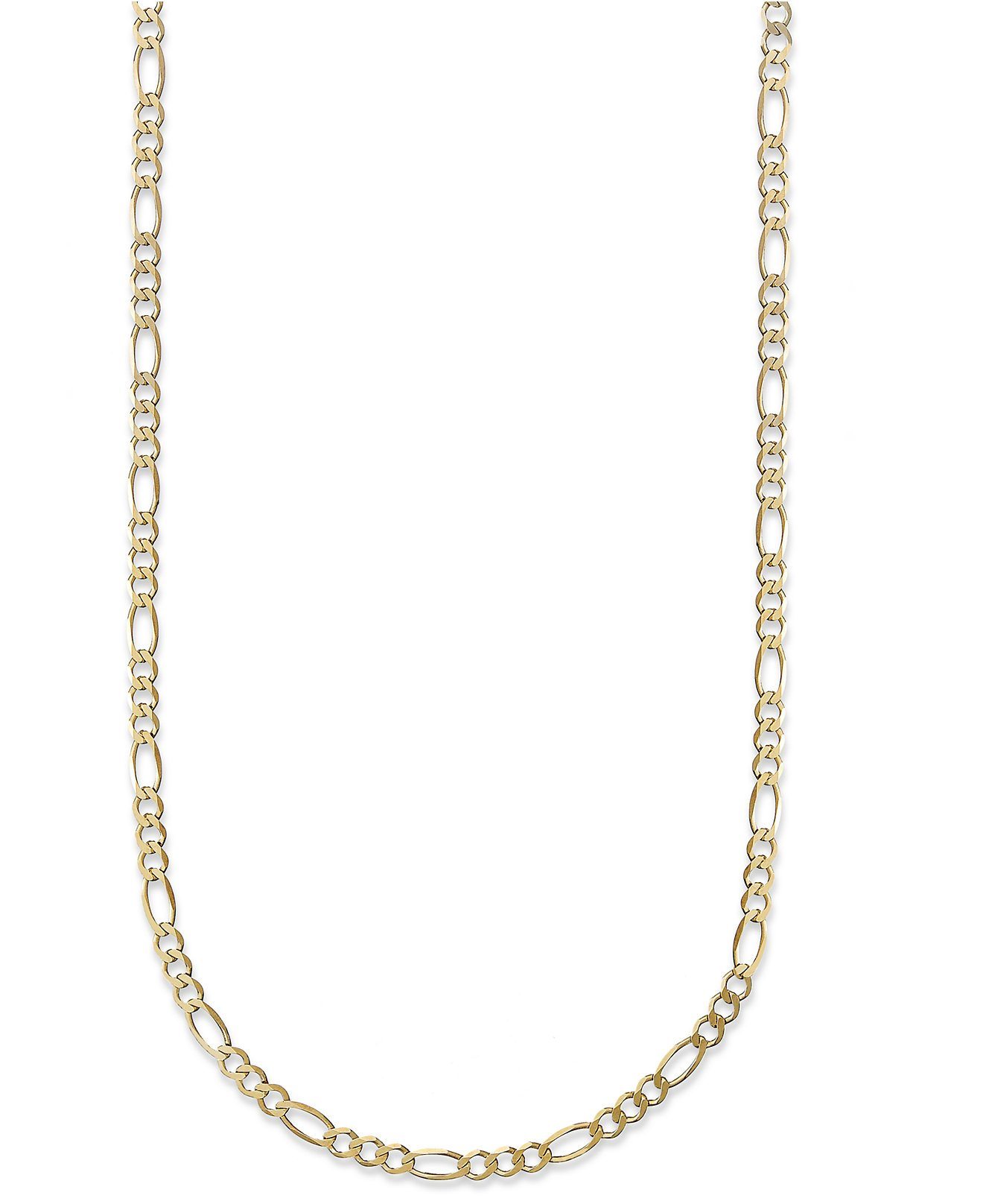 18K Yellow Gold 3.5mm Figaro 3+1 Link Chain Necklace- Multiple lengths available-20