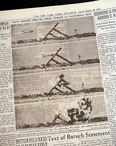 TINY TIM ROCKET United States Navy Steel Armor Test PHOTOS 1946 Old Newspaper THE NEW YORK TIMES, December 28, 1946 ()
