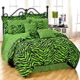 Lime Green Zebra 6 Pc EXTRA LONG TWIN Comforter Set, One Matching Shower Curtain and Set of (Two) Matching Window Valance/Drape Sets; Entire Set Includes: (1 Comforter, 1 Flat Sheet, 1 Fitted Sheet, 1 Pillow Case, 1 Sham, 1 Bedskirt, 1 Shower Curtain, 2 V
