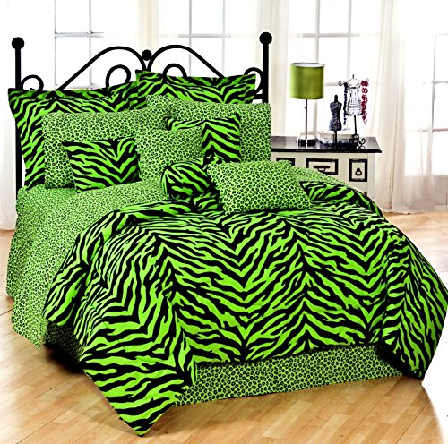Lime Green Zebra 6 Pc EXTRA LONG TWIN Comforter Set, One Matching Shower Curtain and Set of (Two) Matching Window Valance/Drape Sets; Entire Set Includes: (1 Comforter, 1 Flat Sheet, 1 Fitted Sheet, 1 Pillow Case, 1 Sham, 1 Bedskirt, 1 Shower Curtain, 2 V by Kimlor