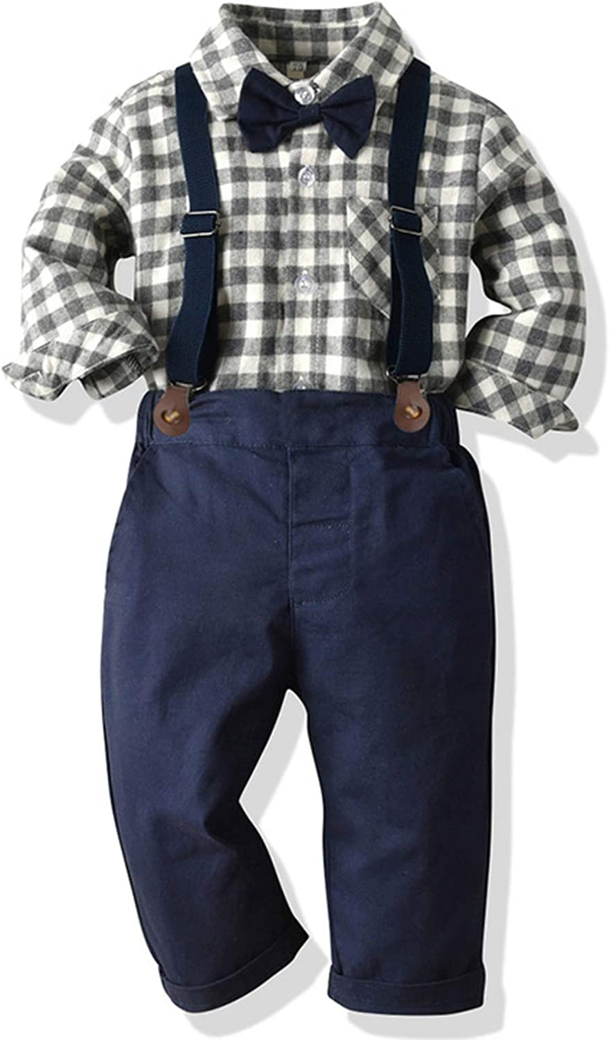 Suspenders Pants 3pcs Gentleman Outfits Suits 6 Month 6 Years Toddler Dress Suit Baby Boys Clothes Sets Bowtie Shirts