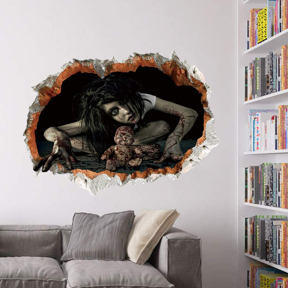 Etiqueta de la pared de BaZhaHei, Happy Halloween Household Room etiqueta de la pared Mural Decor calcomanía Terror desmontable del hogar cocina decoración ...