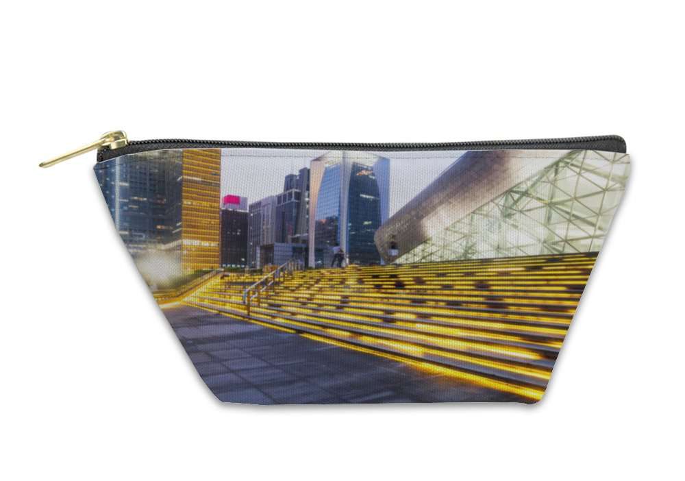 Gear New Accessory Zipper Pouch, Steps Before Modern Business Building In Tokyo, Large, 5911282GN