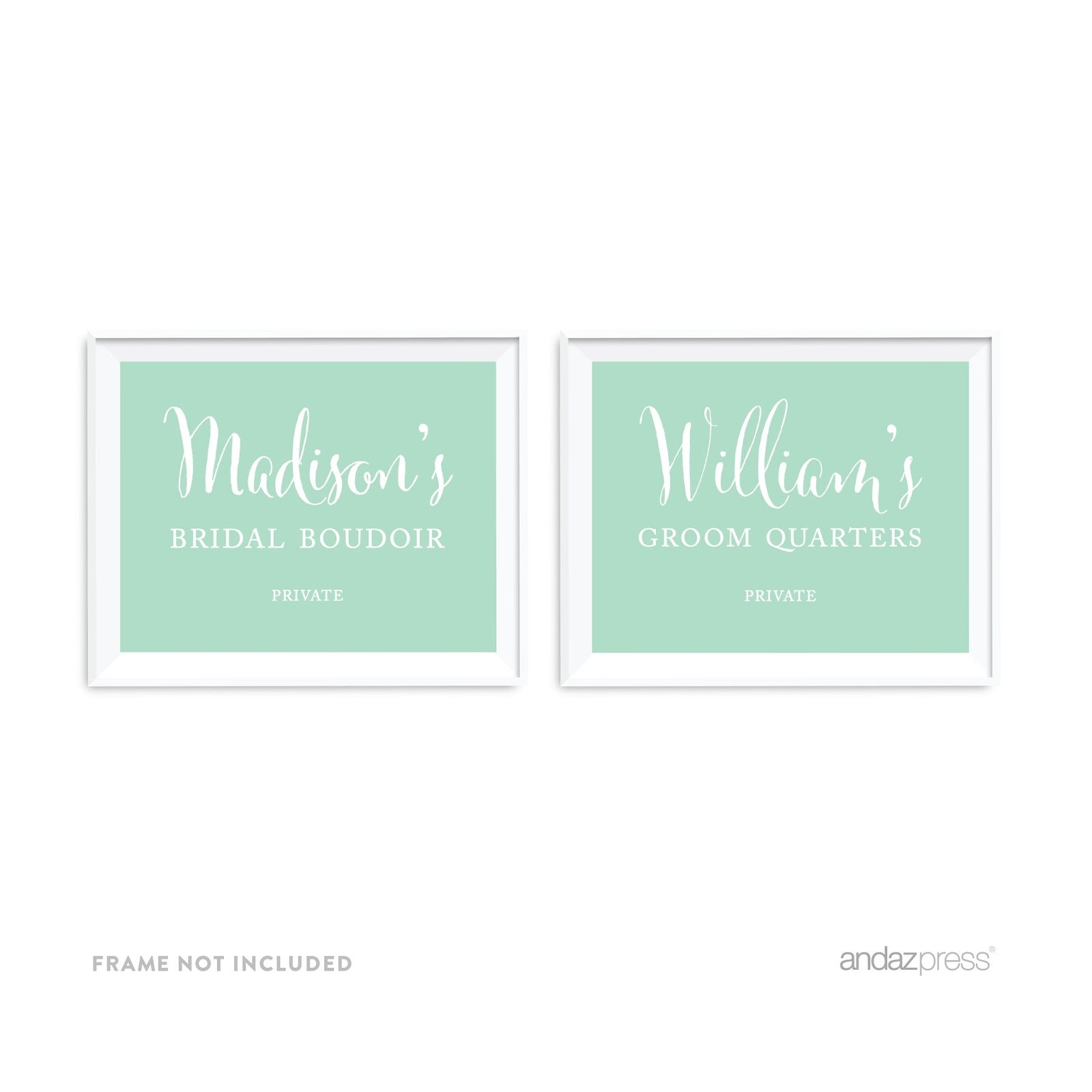 Andaz Press Personalized Wedding Party Signs, Mint Green, 8.5x11-inch Wall Art, Poster, Gift, Madison's Bridal Boudoir Private, Benjamin's Groom Quarters Dressing Room Sign, 2-Pack, Custom