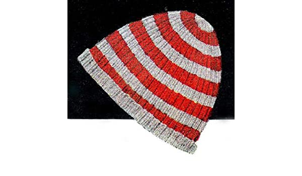 Knitted Striped Beanie Knitting Pattern Hat Stocking Cap - Kindle ... ebd660bdfea