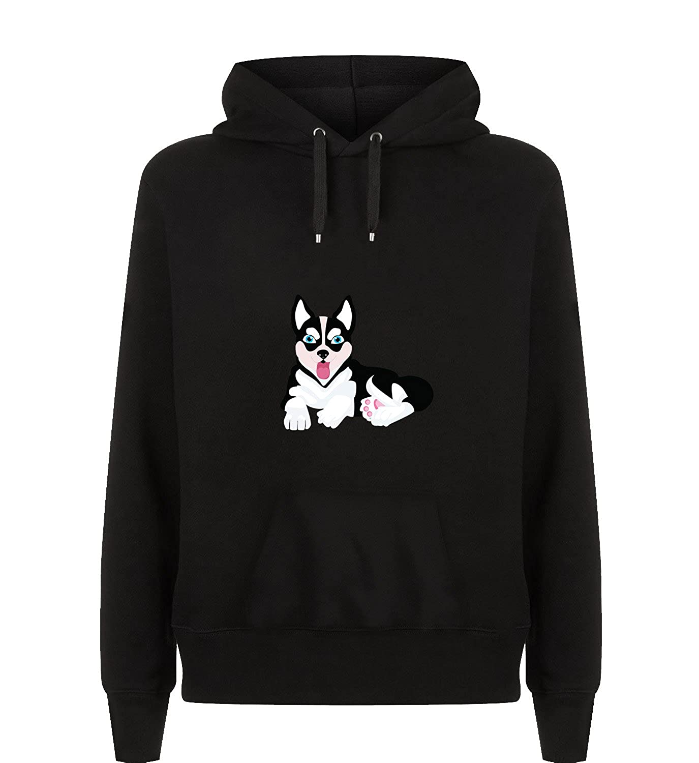 Amazon.com: MYMERCHANDISE Cute Husky Lying Little Dog Friendly Cute Hoodie Hoody Hooded Sweatshirt Christmas: Clothing