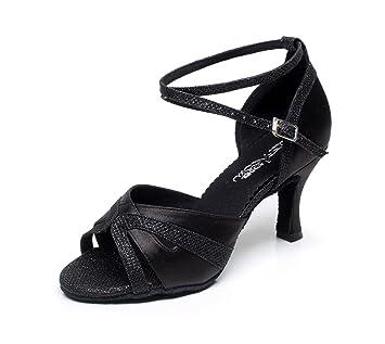 JSHOE Frauen Sexy Salsa Jazz Tanzschuhe Ballsaal Latin Tango Party Tanzschuhe High Heels,Pink-heeled7.5cm-UK4.5/EU36/Our37