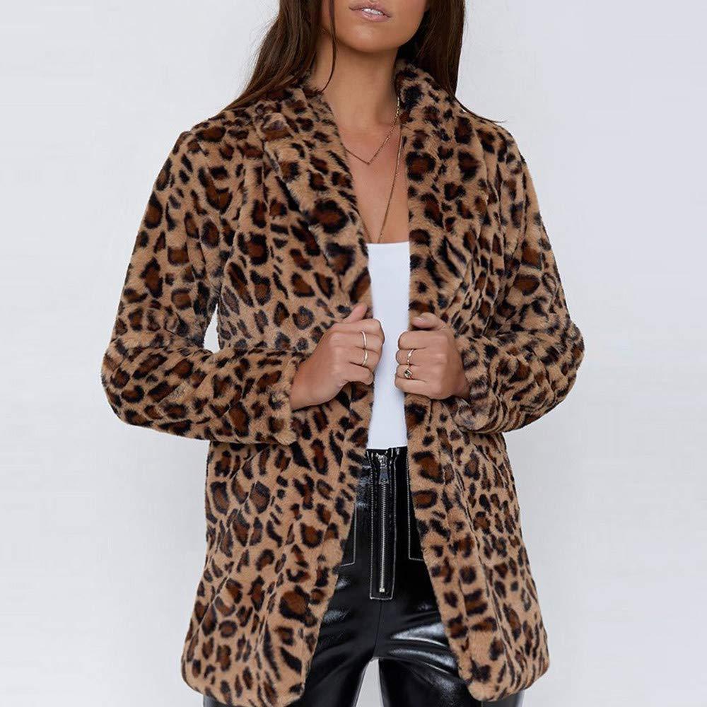 Linlink Mujeres Leopardo Sexy Invierno cálido Viento Abrigo Cardigan Leopardo de impresión Larga Capa: Amazon.es: Ropa y accesorios