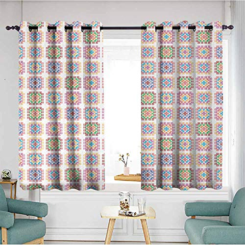Beihai1Sun Blackout Curtains Panels,Afghan,Doodle Style Line Arrangement of Colorful Shapes Hand Drawn Abstract Illustration,Multicolor,Grommet Curtains for Bedroom,W72x45L