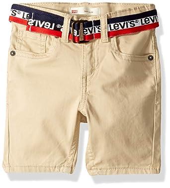 b5dc962e8b Levi's Boys' Toddler 511 Slim Fit Soft Brushed Shorts, Beige Belted 2T