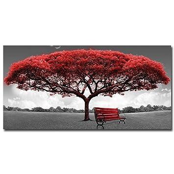 XINGMUZSH Pintura Decorativa Pintura Artística De Inyección De Tinta De Alta Definición Árbol Rico En Rojo
