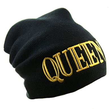 Okstar Queen Bold Letter Logo Black One Size Fashion Beanie Hat at ... bb4376d4672b