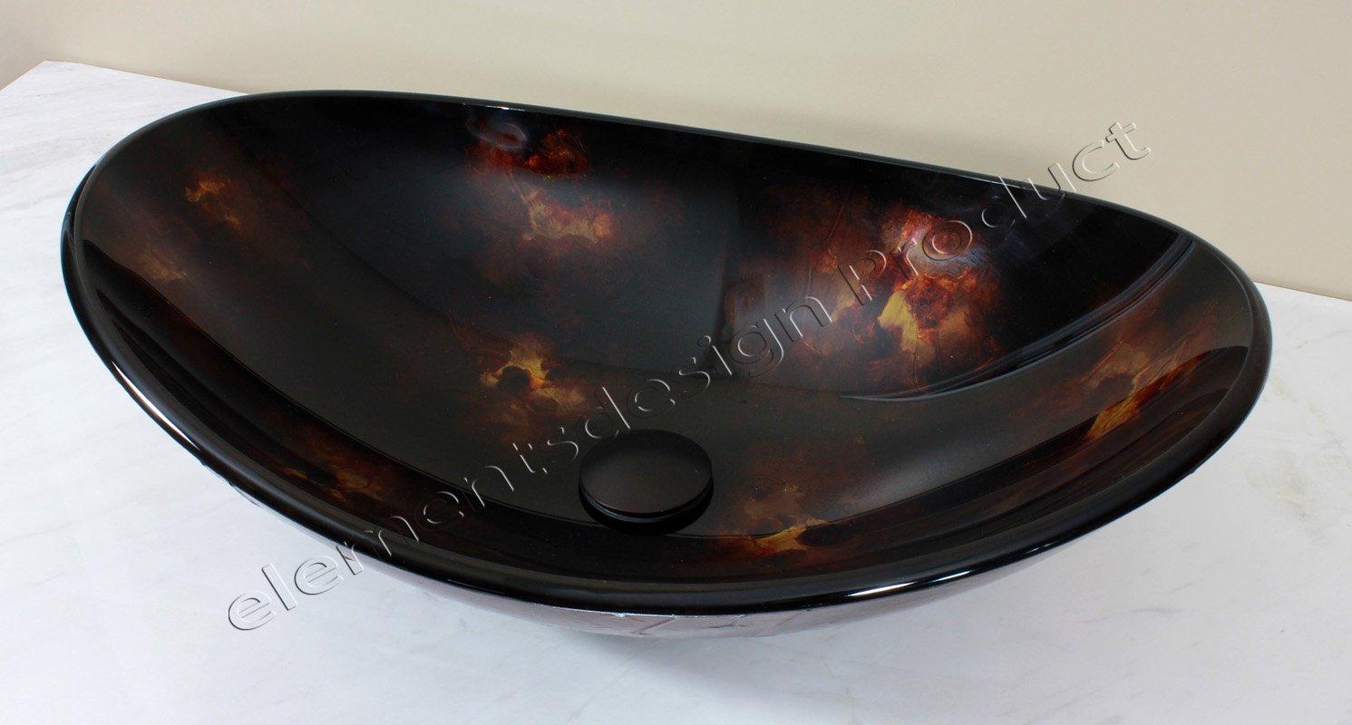 BathroBathroom B9019 Glass Vessel Sink Artistic Oval ***Free Oil Rubbed Bronze Finish Pop Up Drain /Ring***