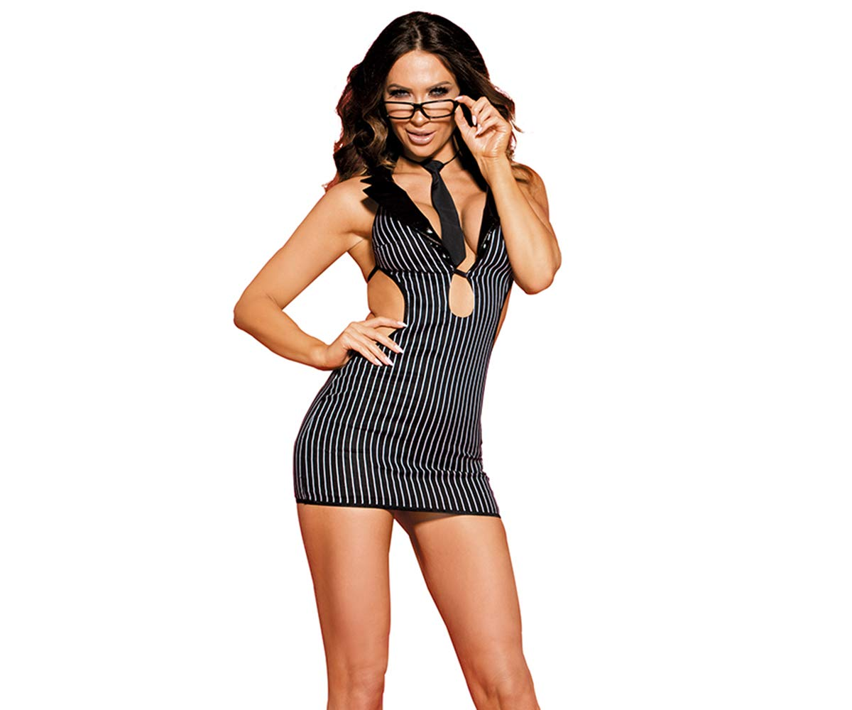 Zanyware Womens Sexy Office Lady Teacher Secretary Costume with Tie and Glasses