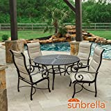 Lakeview Outdoor Designs Elysian 5 Piece Padded Sunbrella Sling Patio Dining Set W/ 52 Inch Round Table