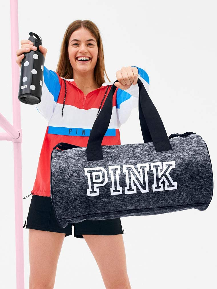 Victoria s Secret Gray duffle bag PINK friday duffel bag with plastic water bottle