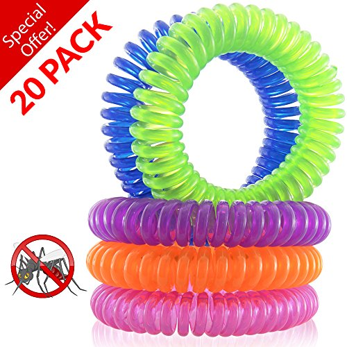 NaturesRepel 20-Pack Mosquito Repellent Bracelet - 100% All Natural Plant Based Oil, Non Toxic Travel Insect...