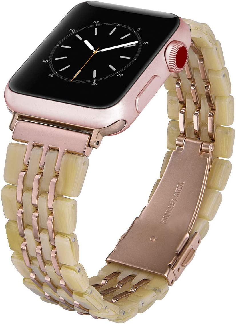 CAGOS Compatible with Apple Watch Bands 38mm 40mm Women Men, Lightweight Resin Bracelets Replacement Accessories Straps for Apple iWatch Series 5/4/3/2/1 (Horn+Gold Metal, 38mm)