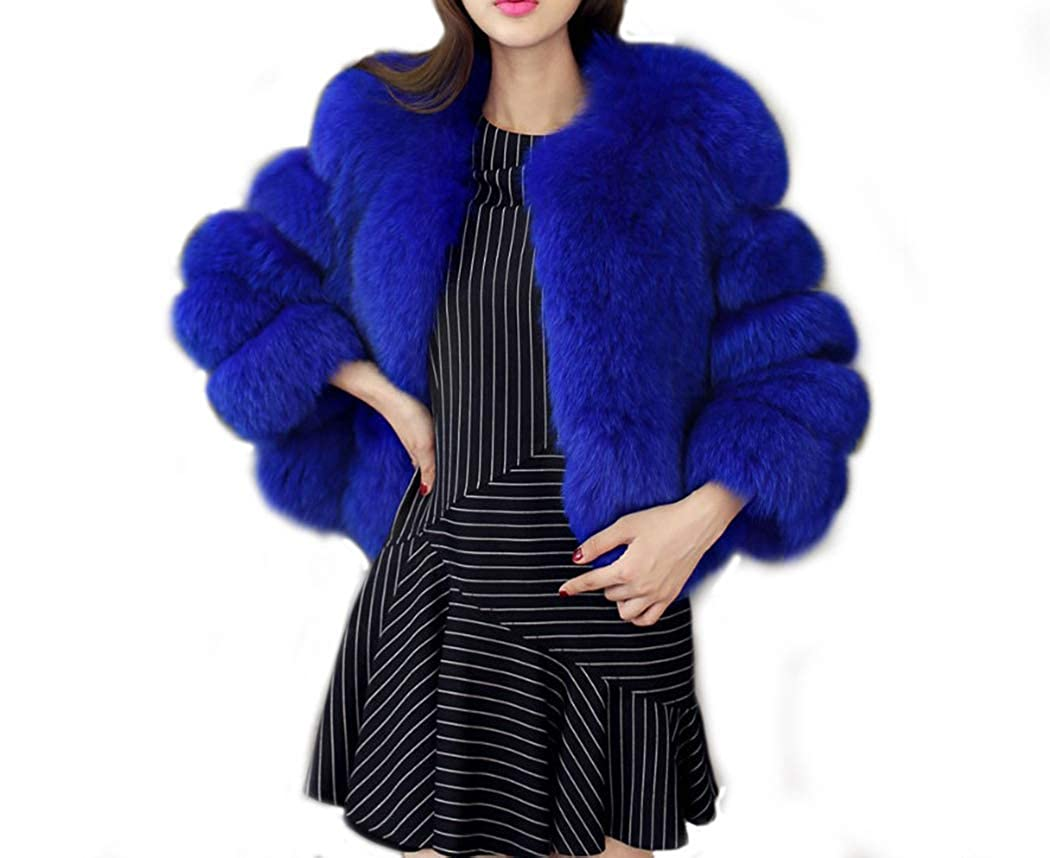 Old DIrd Women Elegant Winter Luxury Faux Fox Fur Coat Warm Fur Jacket Overcoat Parka Outerwear