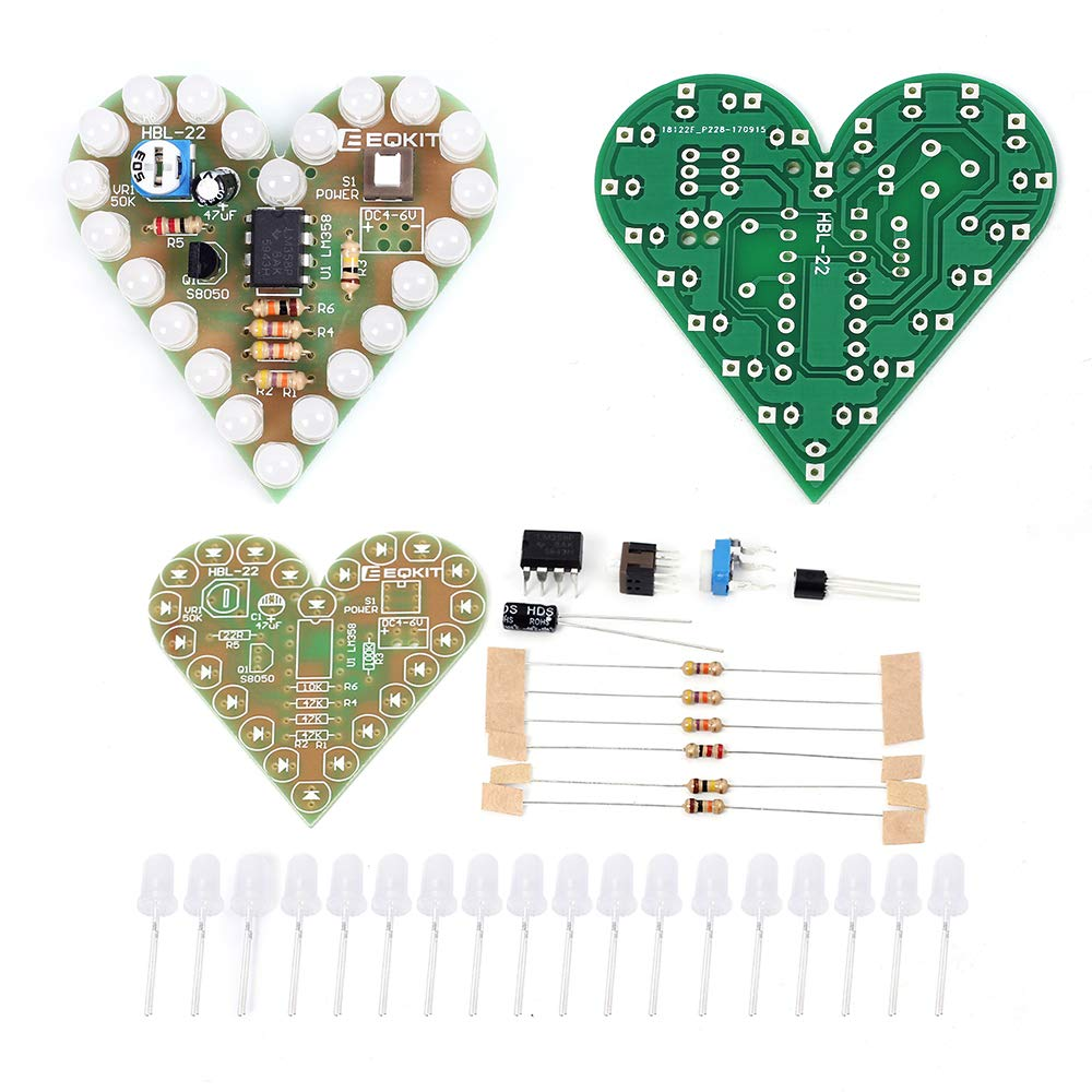 IS Icstation Heart Shape LED Flashing Lights Kit Electronics Soldering Practice Set (Red)