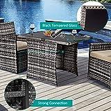 Tangkula 3-Piece Outdoor Dining Set, Space-Saving