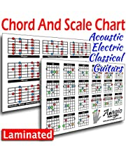ADAGIO Colourful Compact 2-Side Chord & Scale Lesson Chart For Guitars