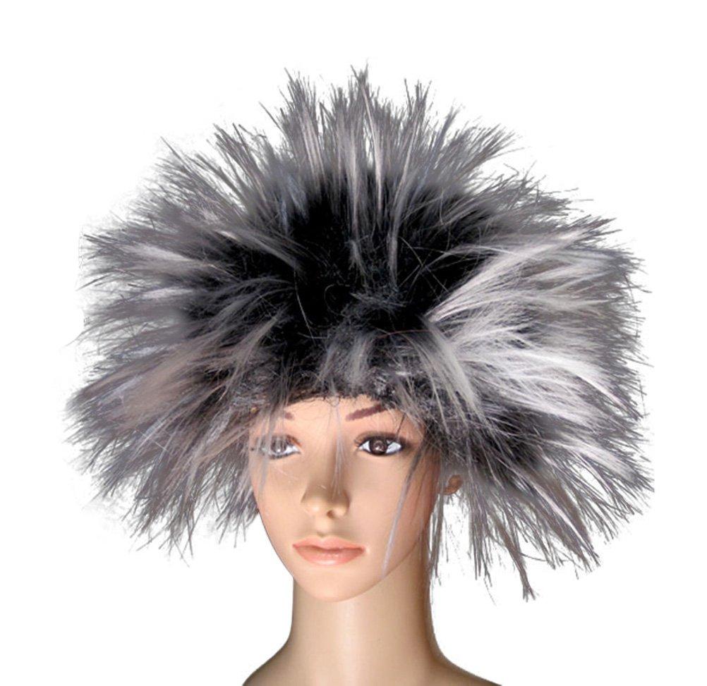 Nuoqi Men's Unisex Frenzy Wigs Funky Punk Halloween Costumes Wigs (Black-White)