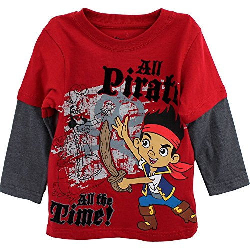 Disney Little Boys' Jake and The Neverland Pirates Screen-Print T-Shirt, Red, 2T ()