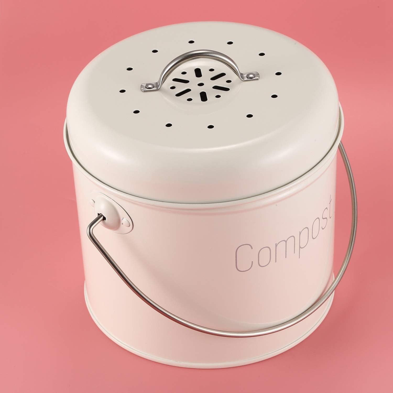 Fauge Pattumiera per compostaggio da cucina 3 l con filtro per carbone in acciaio inox