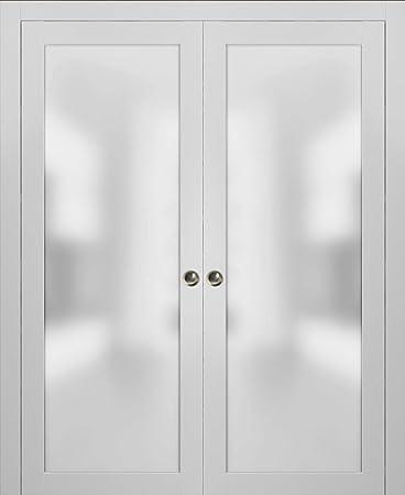 Puertas de cristal esmerilado de doble bolsillo Lite | Planum 2102 seda blanca | Borde de