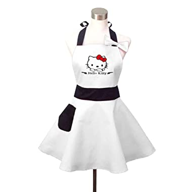 Lovely Hello Kitty White Retro Kitchen Aprons for Woman Girl Cotton Cooking Salon Pinafore Vintage Apron Dress