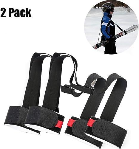 XYLUCKY Hombro de esquí Carrier Correas de sujeción con Acolchonadas Holder 2 Pack - Ajustable - Esquí Hombro Lash Handle Correas para niños y Adultos: Amazon.es: Deportes y aire libre
