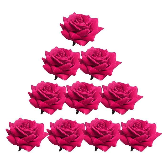 Amazon.com: Magideal 10 piezas varios flores de rosa cabeza ...