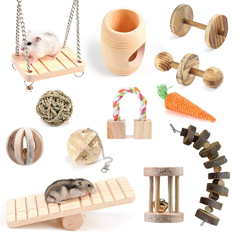 Hamkaw Gerbil Chew Toys, Pcs Natural Wooden Chew Sticks Molars Toys Seesaw Swing Exercise Dumbbells Roller for Hamster Rabbit Cat Bird and Other Small Pets, Teeth Care (12 Pcs) by Hamkaw