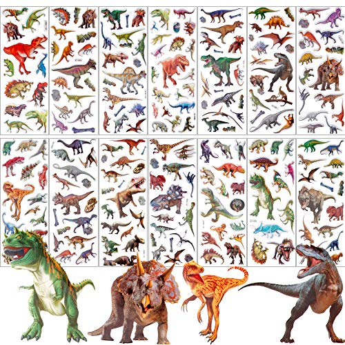 UPINS 14 Diffrent Sheets (200+Count) Kids Dinosaur 3D Puffy Stickers, Craft Scrapbooking for Childrens -