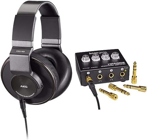 AKG K553 MKII Studio Headphones with Knox Gear Headphone Amplifier