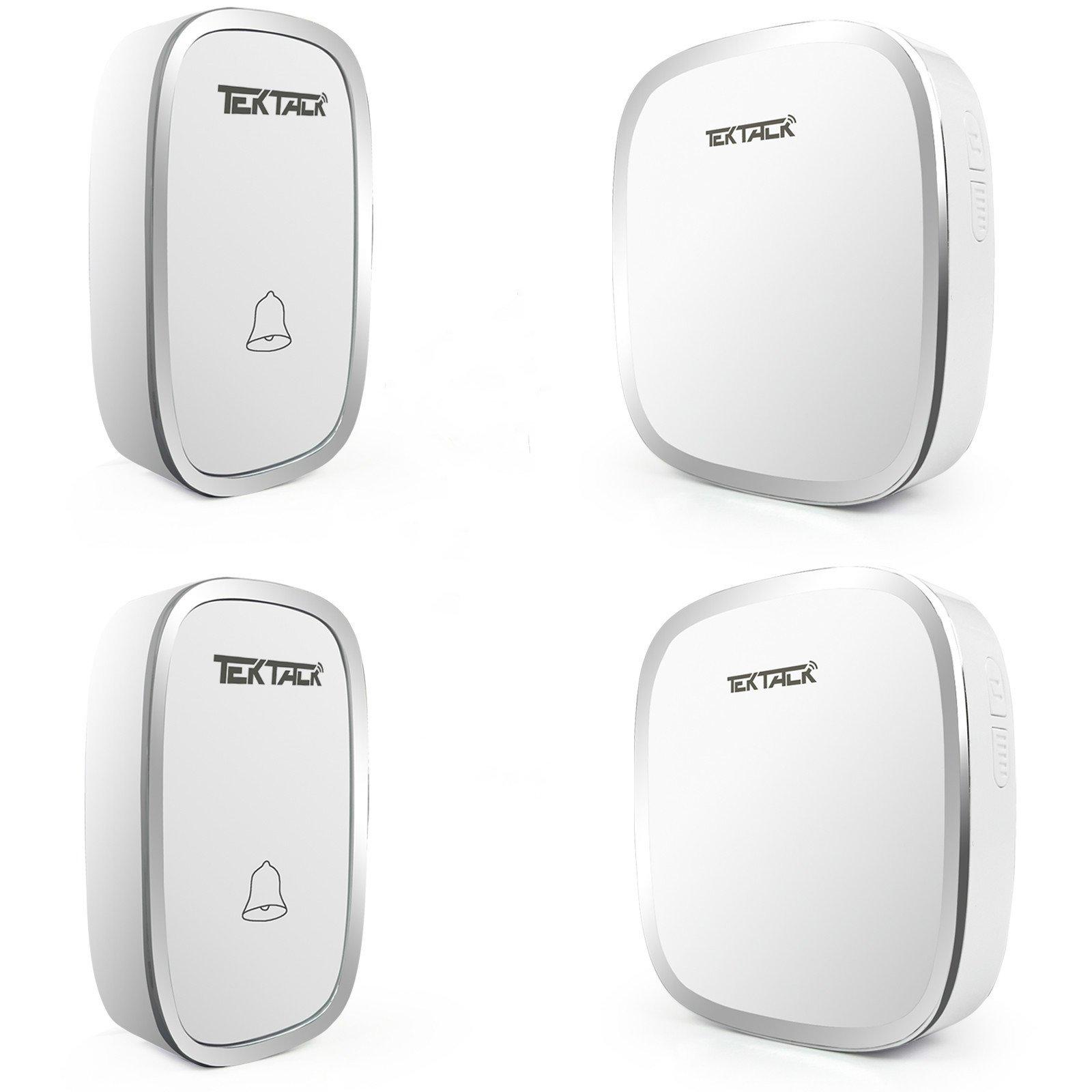 Tektalk Portable Wireless Doorbell Kit/ Metallic Edge Decored Door Bell / Waterproof Push Button with 36 Chime Tones and 4 Adjustable Volume (2 Transmitters & 2 Receivers) – White