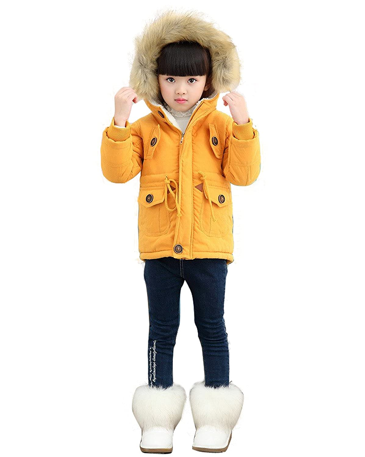 Gaorui Unisex Boys Girls Winter Hooded Coat Kids USA Flag Thick Cotton Outwear Jacket